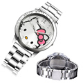 Cat Quartz Hello Kitty Watch Women Luxury Fashion Lady Girl Silver Stainless Steel Brand Cute Wristwatch Gifts Hour