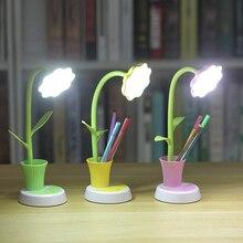 Lámpara LED de escritorio para niños, regulador de intensidad de luz sensible al tacto, Flexible, recargable vía USB, para el cuidado de los ojos, para estudiar