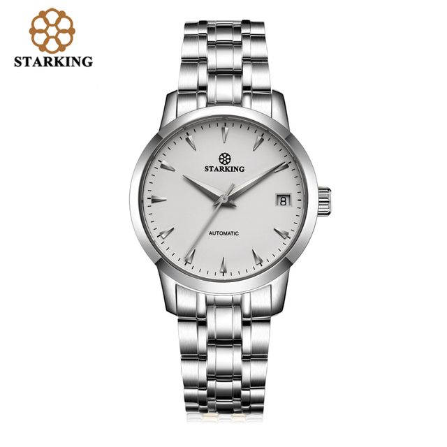 63acf1f5824 StarKing Mulheres Clássicas Simples Relógio Automático do Aço Inoxidável  Branco Dial Relógio de Pulso Auto Data