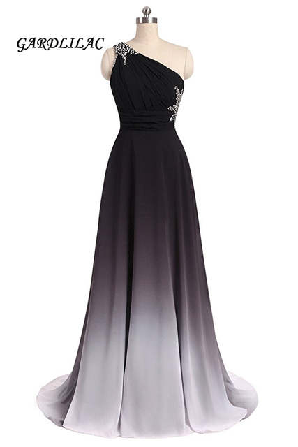 Us 84 98 New One Shoulder Ombre Long Black White Gradient Chiffon Evening Prom Dresses With Beads Wedding Party Gowns In Prom Dresses From Weddings
