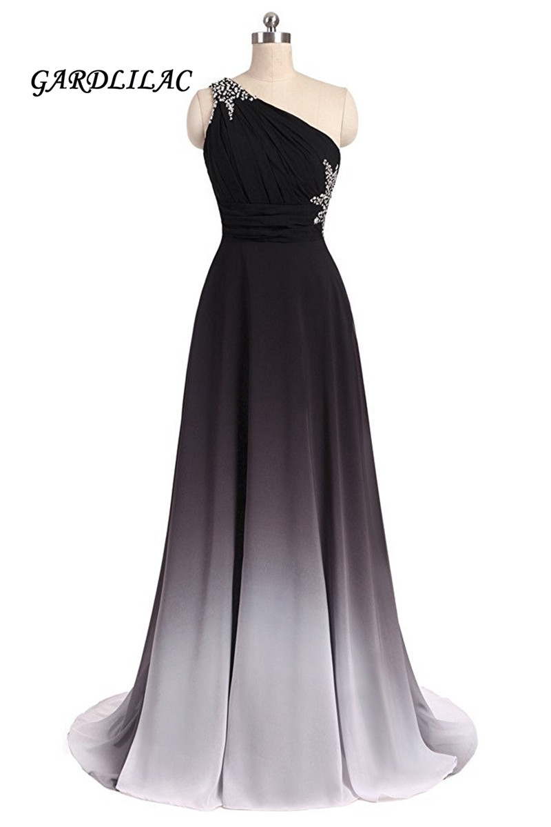 New One Shoulder Ombre Long Black White Gradient Chiffon Evening   Prom     Dresses   With Beads Wedding Party Gowns