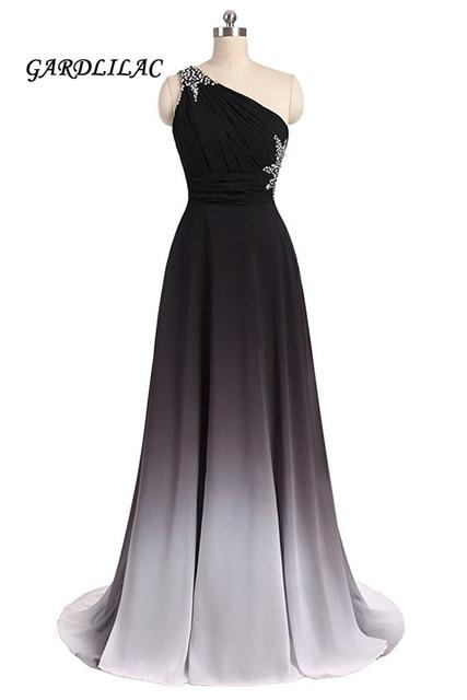 29e613619 Nuevos vestidos de fiesta de noche de chifón de gradiente blanco negro  largo con cuentas de