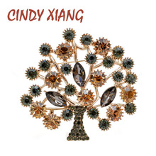 CINDY XIANG Rhinestone Large Tree Brooches For Women Beautiful Wedding Fashion Pin Elegant Accessories High Quality New Design