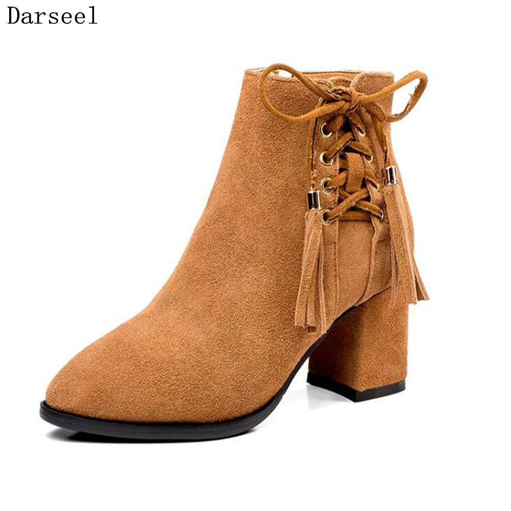 Darseel Lace up Ankle Boots for Women Big Size Solid Cow Suede Leather Shoes High Quailty Ladies  High Square Heel Pumps 34-42 2016 new fashion stiletto high heel women shoes rivet studed winter ladies boots lace up customize madam pumps big size4 15