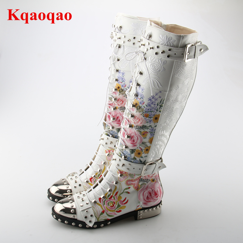 Brand Design Round Toe Punk Chic Women Ankle Boots Lace Up Style Shoes Side Zip Closure Floral Rivets Stud Embellished Long Boot british style lace up and round toe design women s boots