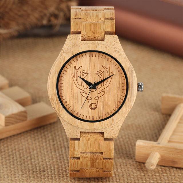Kreative Bambus Quarzuhr Paar Uhren Handgemachte Super Leichte Holz Armbanduhr Elch Kopf Carving reloj para pareja saat-in Partneruhren aus Uhren bei