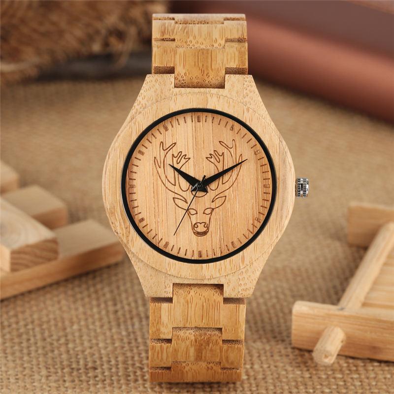 Natural Quartz Bamboo Watch Couple Watches Handmade Super Lightweight Wooden Wristwatch Elk Head Carving Reloj Para Pareja Saat