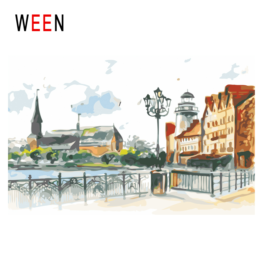 WEEN Town Diy Painting By Numbers Abstract Street Oil On Canvas Seaside House Cuadros Decoracion Acrylic Wall Art Gift