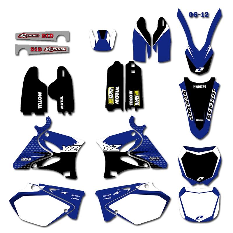 Graphique Milieux Autocollant Kit pour Yamaha YZ125 YZ250 YZ 125 250 2002-2012 2011 2010 2009 2008 2007 2006 2005 2004 2003