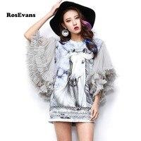 RosEvans 2017 New Summer Dress Women S White Horse Print Taseels Dress Pullover Mesh Sleeve Dress