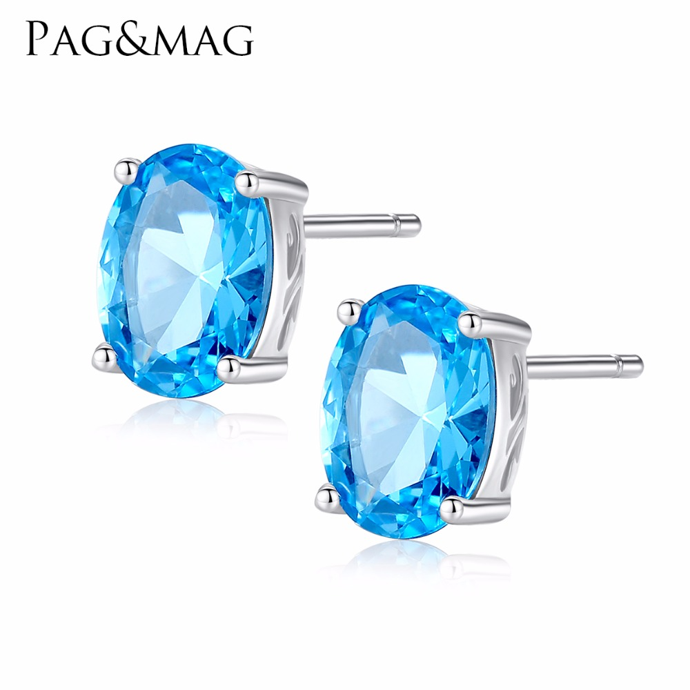 Fine Jewelry Rapture Pag&mag Women Topaz Earring Fine Jewelry Geometric Crystal 925 Silver Stud Earring Sky Blue Choker Earring Jewelry Collare Gift Finely Processed