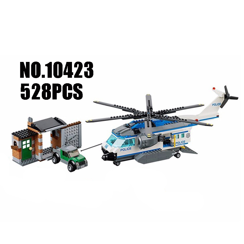 WAZ Compatible Legoe City 60046 Bela 10423 528pcs Helicopter Surveillance Figure building blocks Bricks toys for children