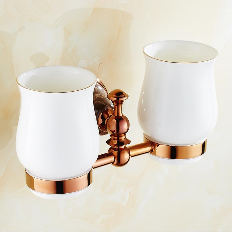 Bathroom Accessories,Luxury European Style Copper Rose Gold Finish Toothbrush Tumbler&Cup Holder ,Marble Design ,bath product image