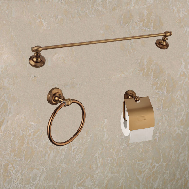 Luxury Antique Bathroom Accessories Set Double 50cm Towel Rack Bathroom Towel Ring Holder And