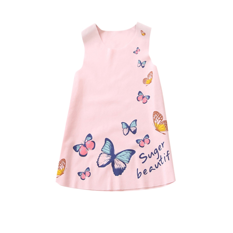 2017 New Summer Girl Dress Sleeveless Clothing Baby Butterfly Princess Dress Kids Party Dresses Clothes Hot M2 kids clothes rushed retail 2017 new cinderella girl party dresses movie kids princess dress with butterfly children summer wear