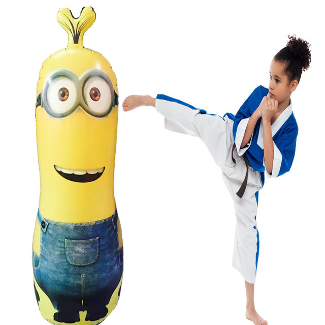 Pump Punching Bag Stand 120cm Inflatable Minions Ball Sd Boxing Ring Training Toy Kid