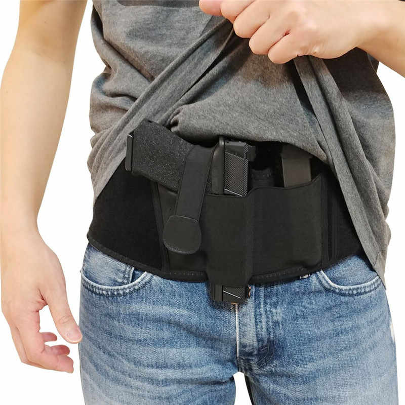 Tactical Belly Band Gun Holster Right-hand Concealed Carry Invisible Elastic Waist Pistol Holster Girdle Belt