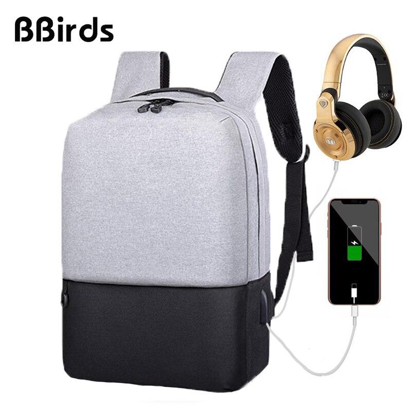 338dda2c035b BBirds USB для мужчин ноутбук рюкзаки анти панцири водостойкий мужской  тетрадь USB рюкзак бизнес большая сумка Rugzak