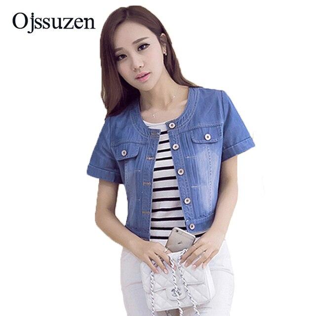 92c6a6b685 Fashion Ladies Summer Denim Jacket Plus Size 2019 Short Sleeve Jacket Women  Jeans Coat Outwear 3XL Slim Cropped Jacket Female