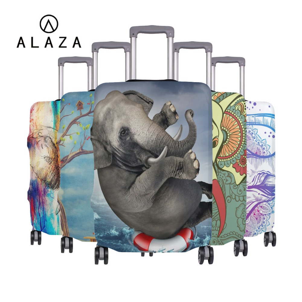 ALAZA Elephant Travel Suitcase Protective Cover Luggage Case Travel Accessories Elastic Luggage Dust Cover Apply To 18''-32''
