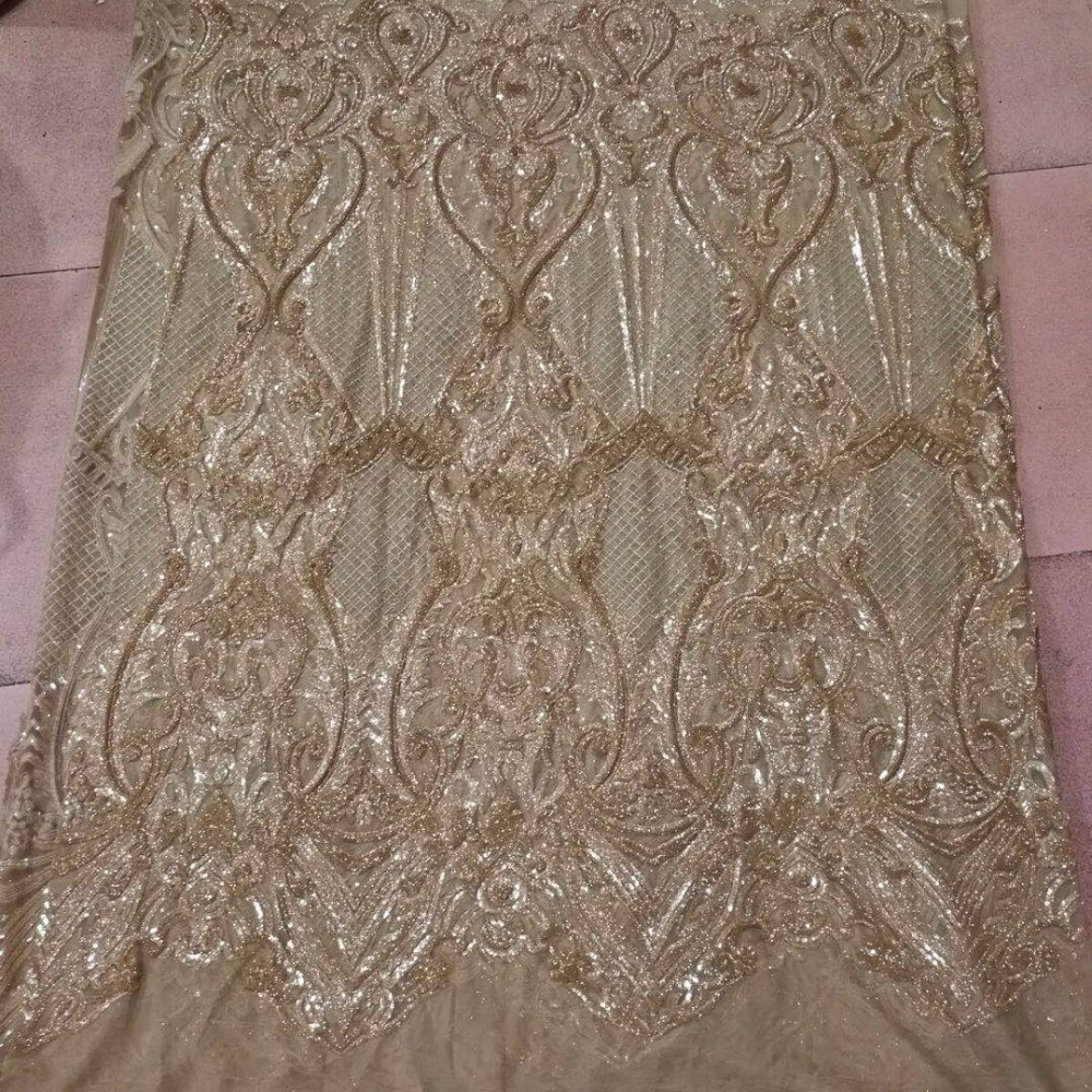 5 yards Jl801# gold color   floral luxury Sequin embroidery net mesh lace fabric for dress sawing/party dress/occassion