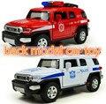 1: 32 сплава внедорожные полицейские автомобили, пожарные машины Отступить модели автомобиля игрушки, открытие двери Музыка Литья Под Давлением Игрушечных автомобилей, мальчики любимый