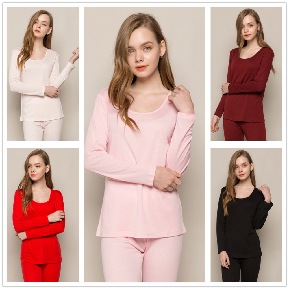 Women Pajamas 70% Pure Merino Wool 30% Nature Silk Thermal Sets Women's Midweight Crew Next To Skin  Base Layer 5 Colors Gifts