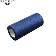 "Navy Blue Glitter Tulle Roll Spool 6"" x 25 Yards Sequin Even Party Supplies DIY Children Skirt By Free Shipping With High Qualit(China)"