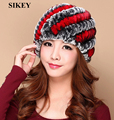 HR047 Genuine Winter Women Knitted Rabbit  Fur Hat Cap Headgear Tuque Beanie
