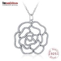 LZESHINE 925 Sterling Silber Elegante Rose Blume Anhänger Halsketten Für Hochzeit CZ Charms Schmuck Silber Frauen Halskette PSNL0015