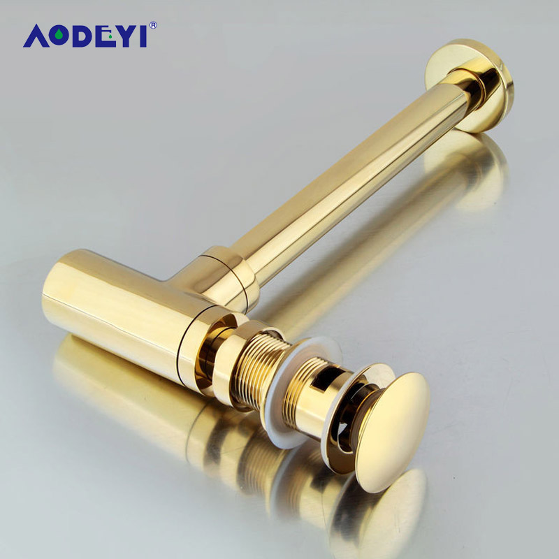 AODEYI Brass Golden Bottle Tap Basin Waste Drain, Basin Mixer P-Trap Waste Pipe With Pop-Up Drain For Bathroom Tool golden bathroom basin sink tap bottle pop up waste trap drain square p trap kit set brass 11 095