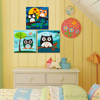 Owl kindergartens art printing quotation owl nurseries decoration owl art on canvas print household adornment wall wall art