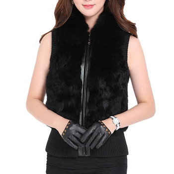 Women Natural Real Rabbit Fur Vest Coat With Real Fox Fur Collar Winter Warm Waistcoat With Zipper Black Dark red Grey image