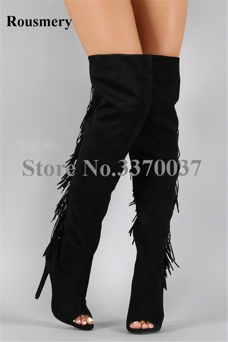 High Quality Women Fashion Open Toe Black Suede Leather Tassels Over Knee Gladiator Boots Cut-out Long Fringes High Heel Boots women fashion open toe suede leather side gold zipper up over knee gladiator boots cut out elastic thigh long high heel boots