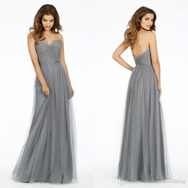 Fashion Simple Gray Long Bridesmaid Dresses 2016 Sweetheart Tulle Women Wedding Guest Dress For Formal