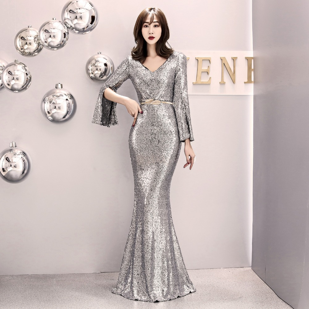 Elegant Party Dress Women Gold Silver Sequin Evening Party Gown Cloak Sleeves V Neck Belt Sexy