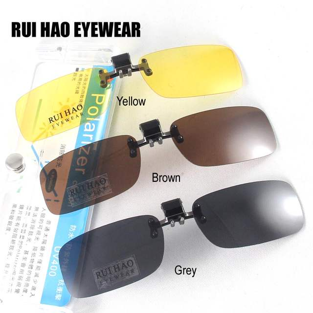 04b8ee3a83 Small Polarized Sunglasses Clip on Sunglasses Eyeglasses Sun Glasses Drive  Goggles Spectacles Yellow Night Vision Eyewear