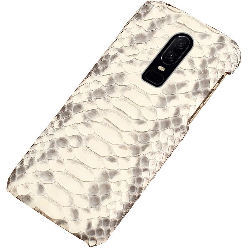 Python Genuine phone Case Couro Para Oneplus 7 6 T 6 5 5 T 3 3 T Maravilha de Luxo Peles de Cobra tampa traseira Para Um mais 7 Pró Armadura