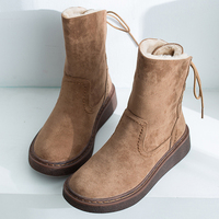 Suede Snow Boots Women Winter Boots Rubber Flats Platform Ankle Boots Warm Plush Shoes Fur Winter Shoes Woman Back Lace Up