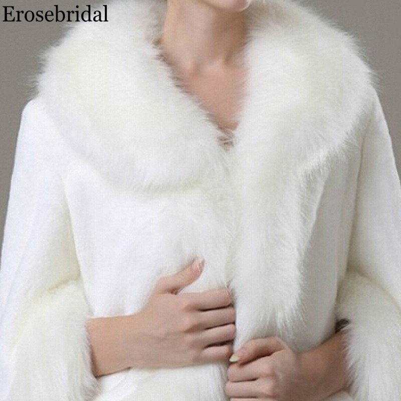 Erosebridal Long Sleeve Wedding Fur Shawl 2019 Bridal Cape Evening Bolero for Women 48 Hours Shipping In Stock Drop Shipping