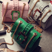 2017 Newest Women's Handbag  Vintage Knitted Chain Bag Fashion One Shoulder Mini Cross-Body PU Leather Shoulder Bags
