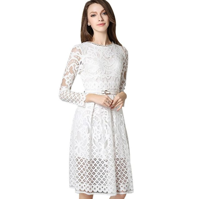 2017 Spring New Arrival Black White Lace White Dress Long Sleeve