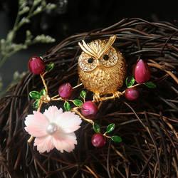 Amxiu индивидуальные ручной работы натуральный queen оболочки остеклением Стекло брошь или Кулон Цветок Птица Форма Позолоченные Броши