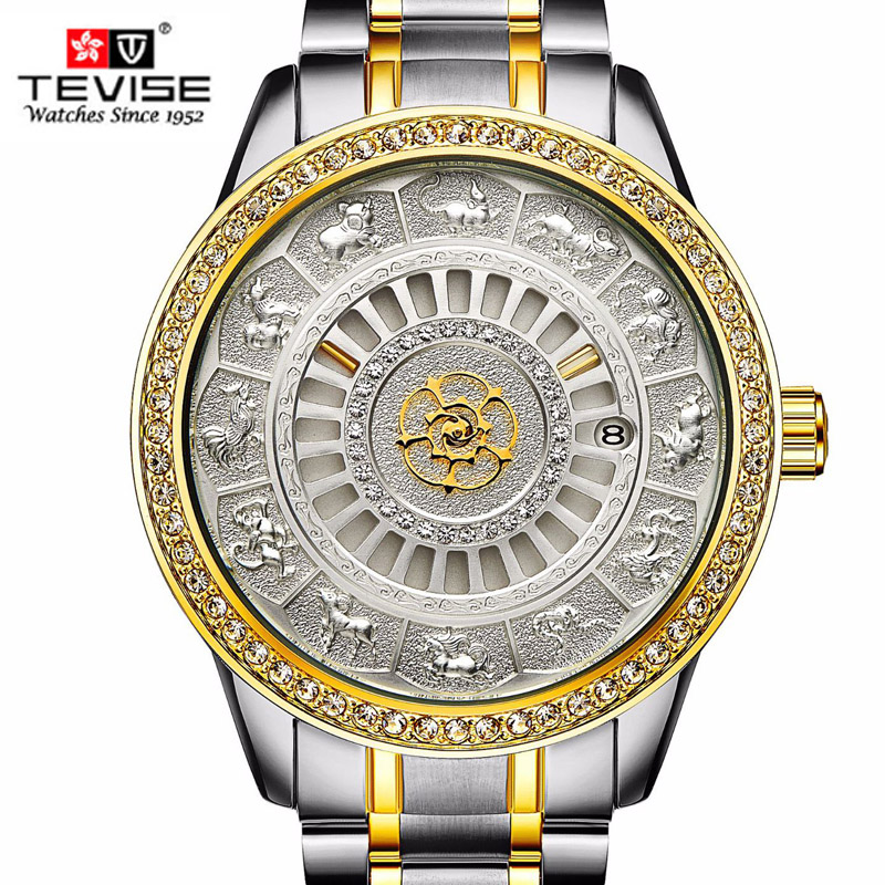 все цены на TEVISE Men Automatic Mechanical Watch Stainless steel Watches Self-Winding Waterproof Top Luxury Gold Clock Relogio Masculino онлайн