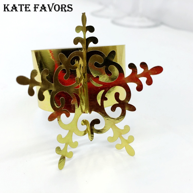 50pcs/lot Laser Cut Paper Napkin Rings with Diverse Color Star Shape for Wedding Table Decoration Party Birthday Table Decors