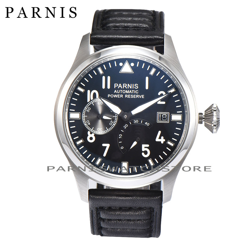 Fashion 43mm Men Watch Parnis Power Reserve Auto Date Men's Mechanical Watches Black Dial Sea-gull 2530 Automatic Movement Watch hot sale 46mm parnis black dial power reserve white marks automatic men wrist watch
