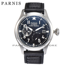 Moda 43mm Hombres Reloj Fecha Auto Relojes Mecánicos de Los Hombres Parnis Power Reserve Negro Dial Sea-gull 2530 Reloj de Movimiento automático