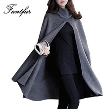 FANTFUR Fashion Women's Hooded Capes And Ponchoes Autumn Winter Women's Elegant Gray Cloak Blend Cape Coat Female Trench Coat(China)