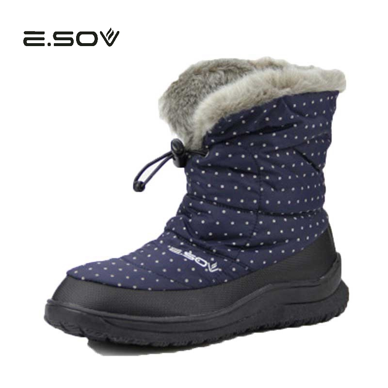 Fur Warm Down Snow Boots Polka Point Ladies Non-slip 2017 New Fashion Mid High Female Winter Warm Cotton Shoes  40 Big Size 2018 new warm solid anti slip snow boots