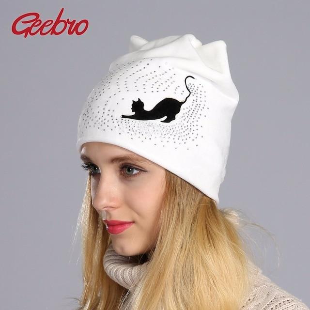 Geebro Gorro Beanie Hat Inverno Ocasional de Veludo Quente das Mulheres Com  Strass Senhoras Gato Orelha 74df65bfe64